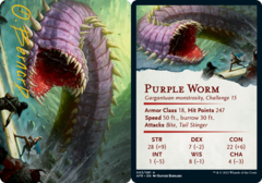 Purple Worm Art Card -  Gold-Stamped Signature
