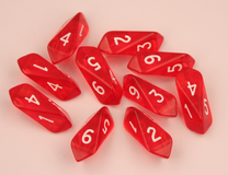 Crystal d6 10 pc set - red