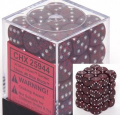 CHX 25944 - 36 Silver Volcano Speckled 12mm d6 Dice