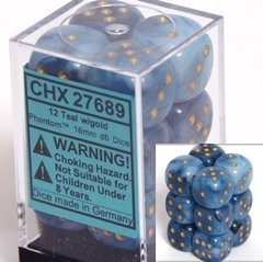 12 Teal w/gold Phantom 16mm D6 Dice Block - CHX27689