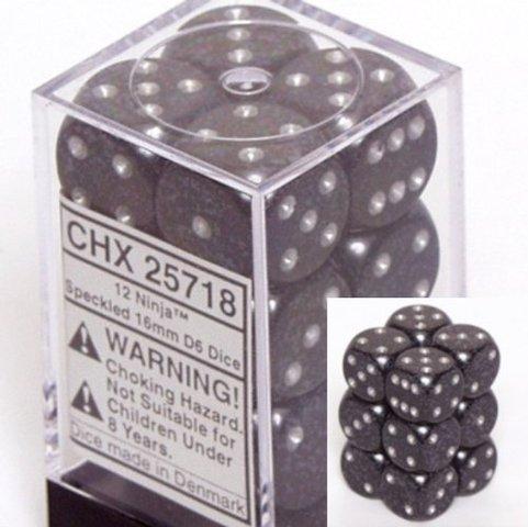 12 Ninja Speckled 16mm D6 Dice Block - CHX25718