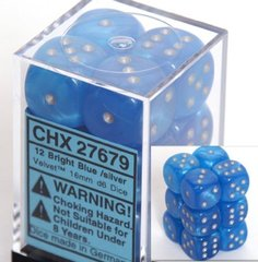 12 Bright Blue w/silver Velvet 16mm D6 Dice Block - CHX27679