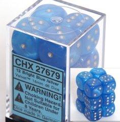 12 Bright Blue w/silver Velvet 16mm D6 Dice Block - CHX27679