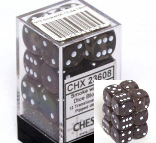 12 Smoke w/white Translucent 16mm D6 Dice Block - CHX23608