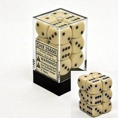 CHX 25600 - 12 Ivory w/ Black 16mm d6 Dice