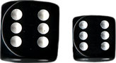 Black/White Opaque d6 w/spots 12mm - DQ1208