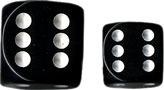 Black/White Opaque d6 Individual dice