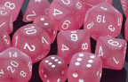 Frosted Polyhedral Pink/white d8 - PF0814