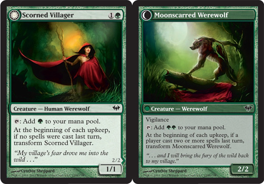 Scorned Villager // Moonscarred Werewolf