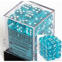 36 Translucent Teal w/white 12mm D6 Dice Block - CHX23815