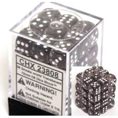 36 D6 Dice Block - 12mm Translucent Smoke with White - CHX23808