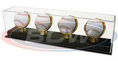 Deluxe Acrylic Four Gold Glove Baseball Display - Acrylic Base