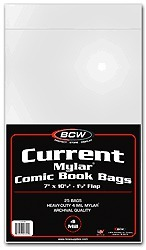 BCW Current Comic MYLAR Bags 4 Mil - 7 1/4 x 10 1/2 - Pack of 25