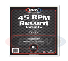 BCW Paper Record Jackets: 45-RPM - Square Corners - No Hole - Pack of 10