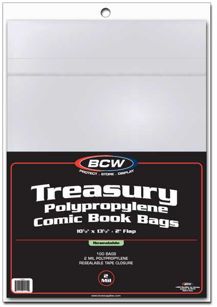 BCW Treasury Bags - Resealable - 10 1/2 x 13 1/2 - Pack of 100