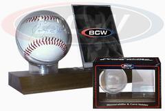 Woodbase Baseball & Card Holder (Real Walnut)