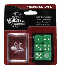 Monster Protectors - 6x D6 Monster Dice & Carrying Case - Green