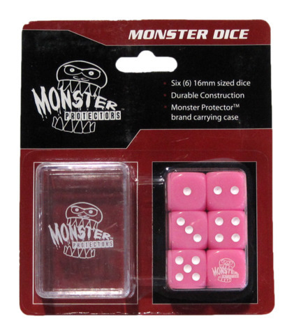 Monster Protectors - 6x D6 Monster Dice & Carrying Case - Pink