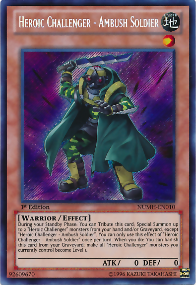 Heroic Challenger - Ambush Soldier - NUMH-EN010 - Secret Rare - 1st Edition