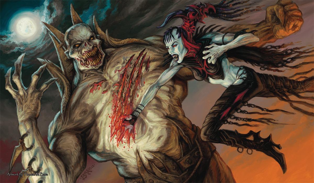 Artists of Magic Series Play Mat - Nosferatu VS Zombielord by Thomas Baxa