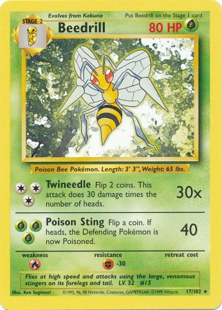 Beedrill - 17/102 - Rare - Unlimited Edition