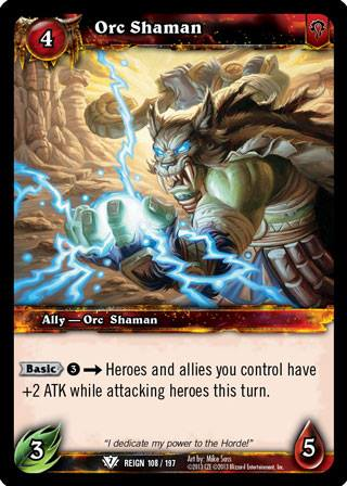 Orc Shaman World Of Warcraft Tcg Reign Of Fire Categoryonegames